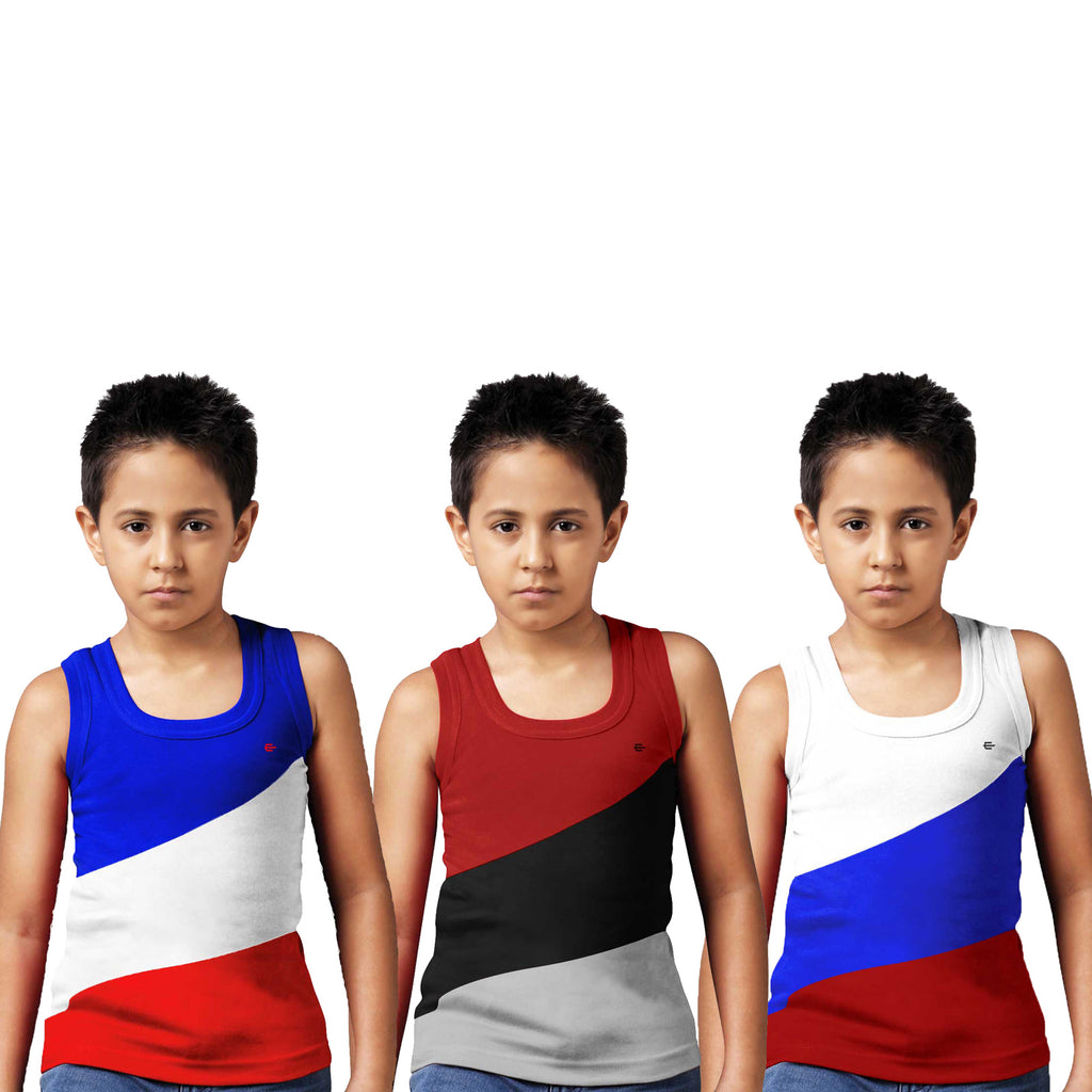 Sirtex Eazy Racer Boys Junior Gym Vest (Pack of 3) : Royal Blue, Maroon & White - RACER-BOY-9005