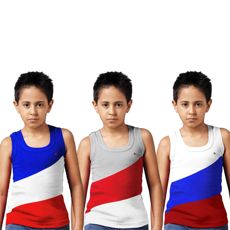 Sirtex Eazy Racer Boys Junior Gym Vest (Pack of 3) : Royal Blue, Grey Melange & White - RACER-BOY-9005
