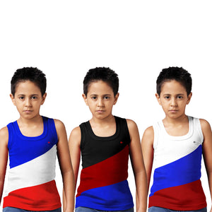 Sirtex Eazy Racer Boys Junior Gym Vest (Pack of 3) : Royal Blue, Black & White - RACER-BOY-9005