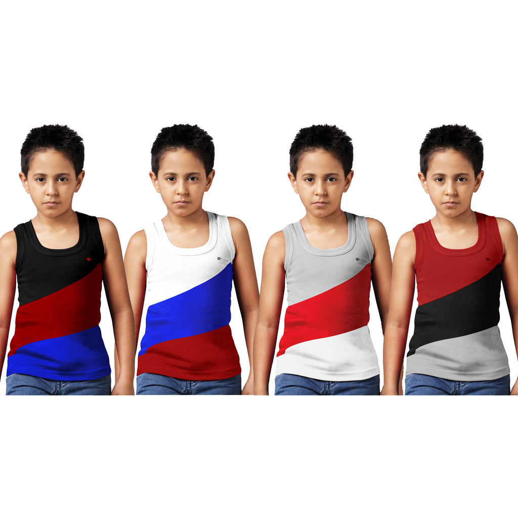 Sirtex Eazy Racer Boys Junior Gym Vest (Pack of 4) : Black, White, Grey Melange & Maroon - RACER-BOY-9005