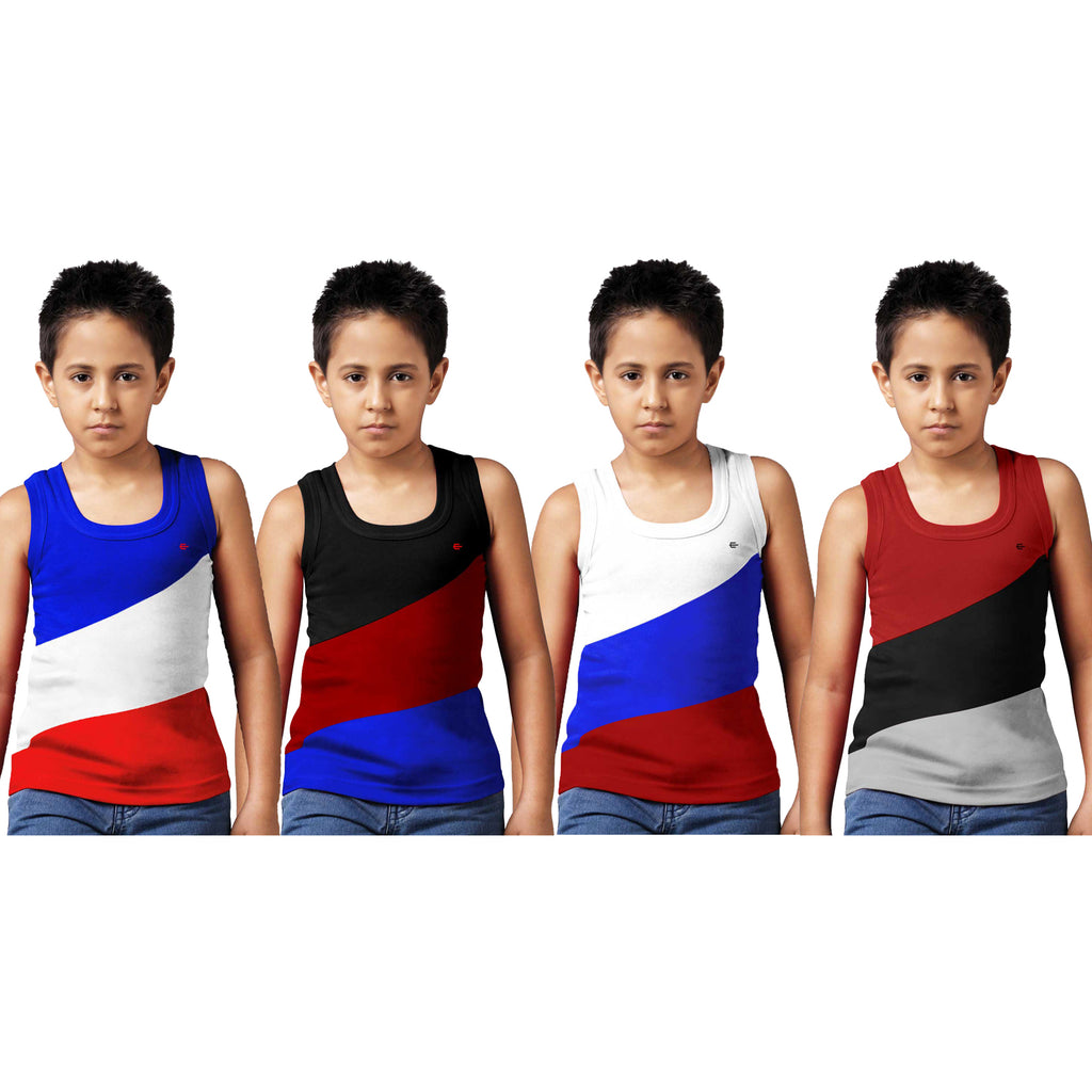 Sirtex Eazy Racer Boys Junior Gym Vest (Pack of 4) : Royal Blue, Black, White & Maroon - RACER-BOY-9005
