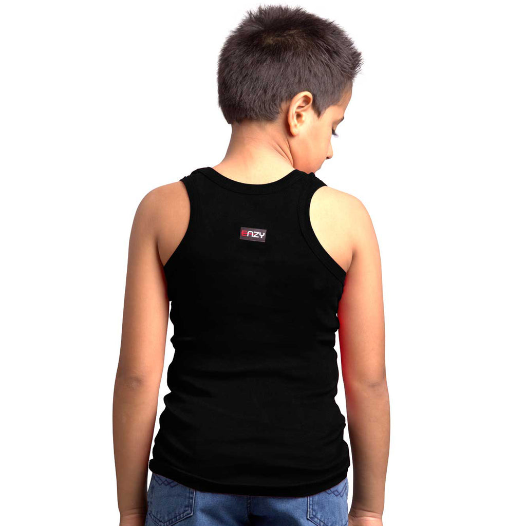 Sirtex Eazy Racer Boys Junior Gym Vest (Pack of 4) : Royal Blue, Black, White & Grey Melange - RACER-BOY-9005