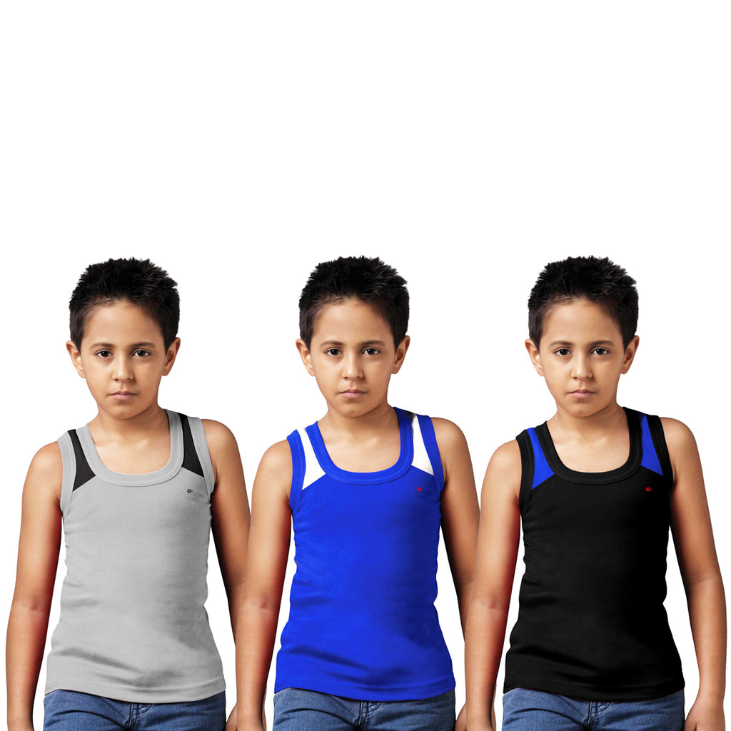 Sirtex Eazy Racer Boys Junior Gym Vest (Pack of 3) : Grey Melange, Royal Blue & Black - RACER-BOY-9006