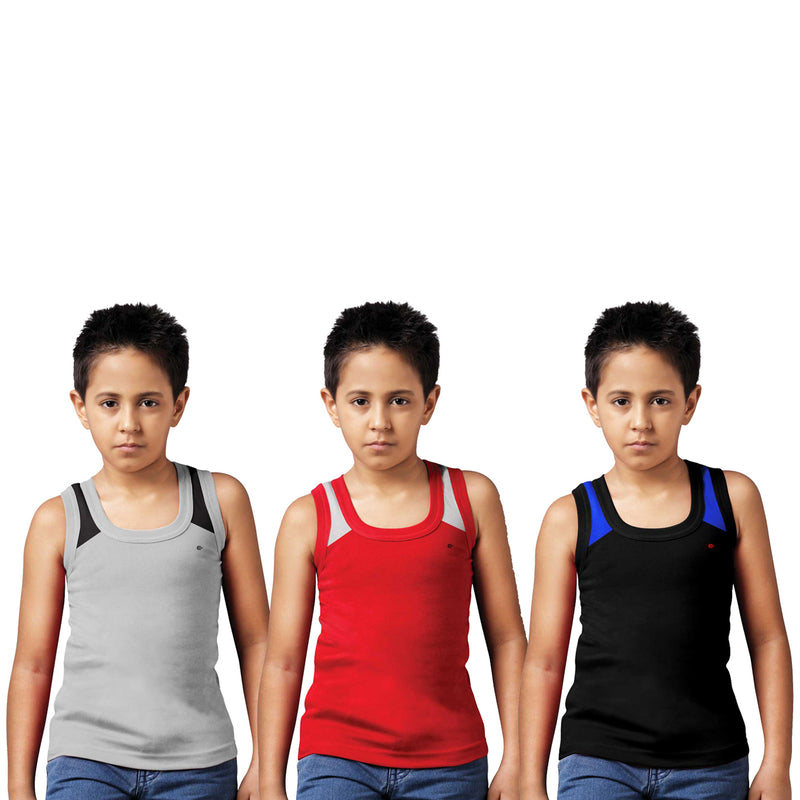 Sirtex Eazy Racer Boys Junior Gym Vest (Pack of 3) : Grey Melange, Red & Black - RACER-BOY-9006