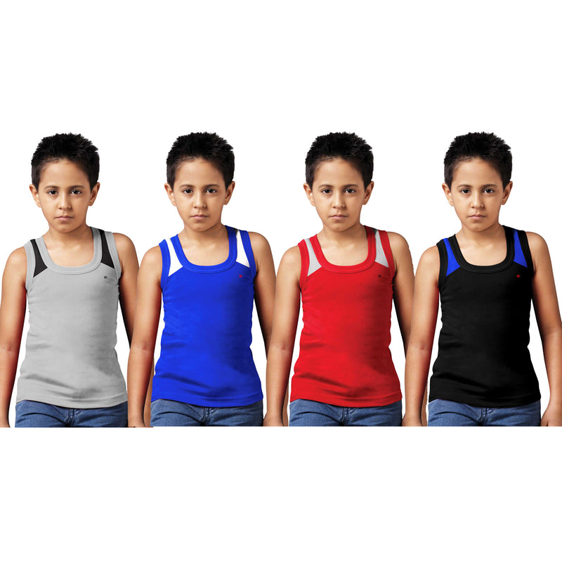 Sirtex Eazy Racer Boys Junior Gym Vest (Pack of 4) : Grey Melange, Royal Blue, Red & Black - RACER-BOY-9006