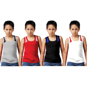Sirtex Eazy Racer Boys Junior Gym Vest (Pack of 4) : Grey Melange, Red, Black & White - RACER-BOY-9006