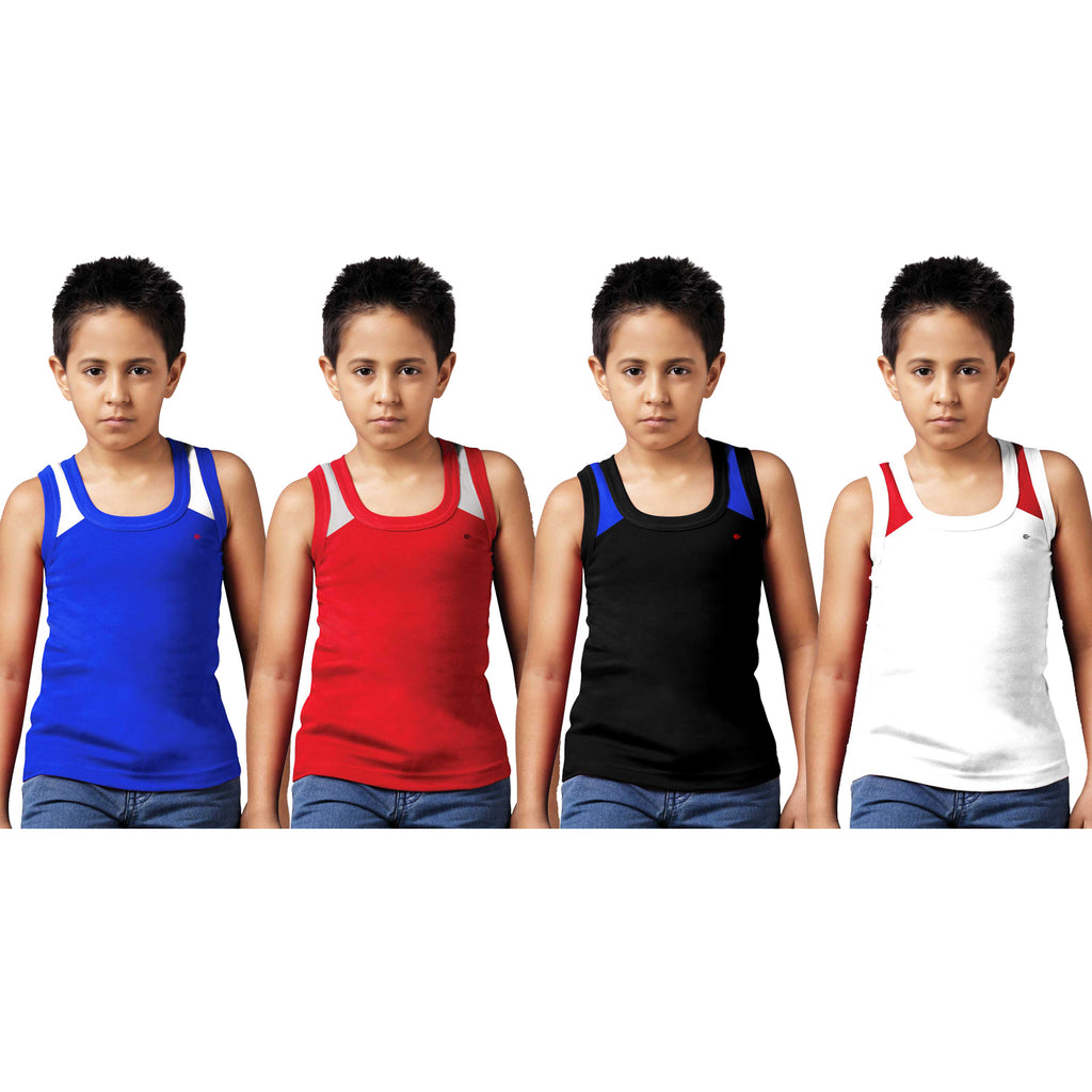 Sirtex Eazy Racer Boys Junior Gym Vest (Pack of 4) : Royal Blue, Red, Black & White - RACER-BOY-9006
