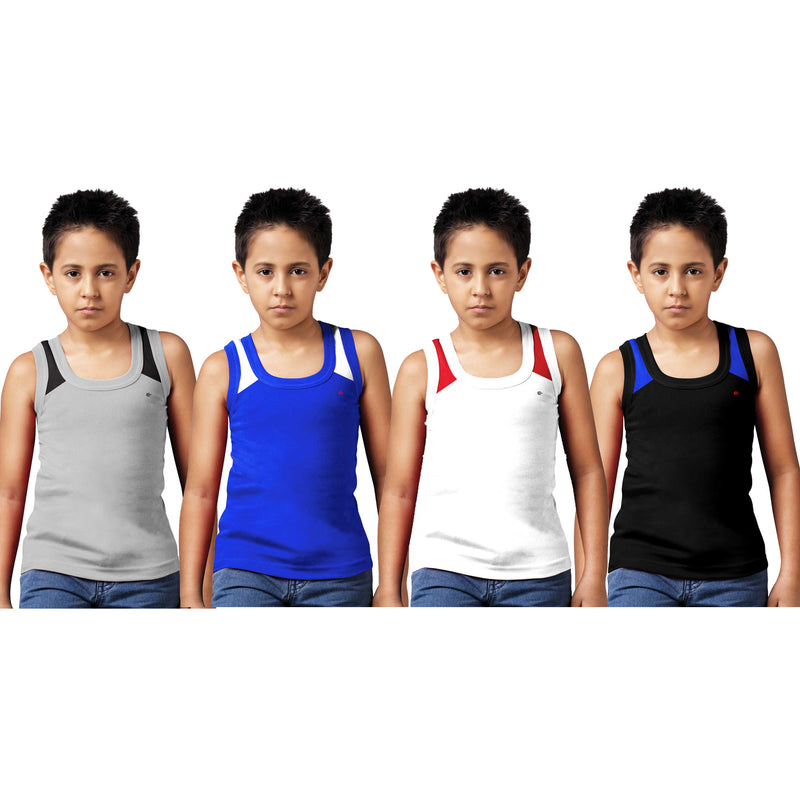 Sirtex Eazy Racer Boys Junior Gym Vest (Pack of 4) : Grey Melange, Royal Blue, White & Black - RACER-BOY-9006