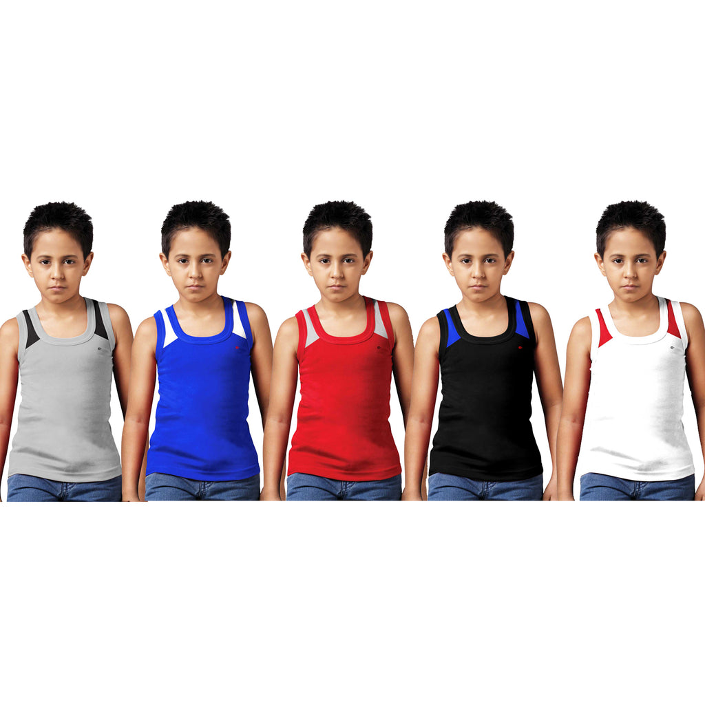Sirtex Eazy Racer Boys Junior Gym Vest (Pack of 5) : Grey Melange, Royal Blue, Red, Black & White - RACER-BOY-9006