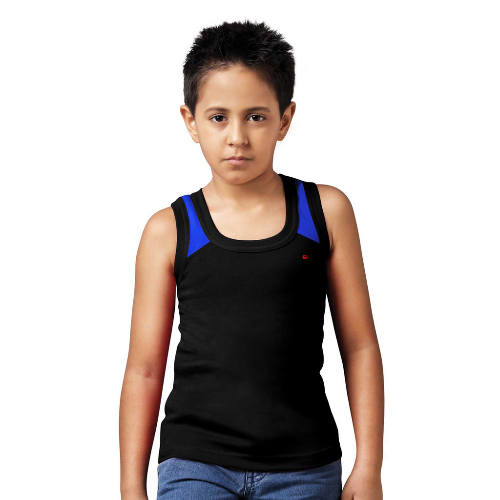 Sirtex Eazy Racer Boys Junior Gym Vest (Pack of 3) : Royal Blue, Black & White - RACER-BOY-9006