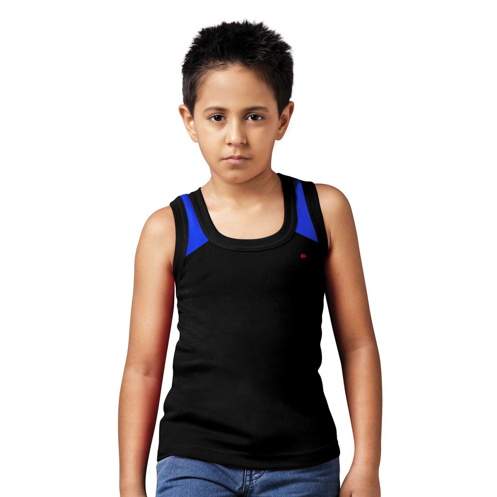 Sirtex Eazy Racer Boys Junior Gym Vest (Pack of 3) : Grey Melange, White & Black - RACER-BOY-9006