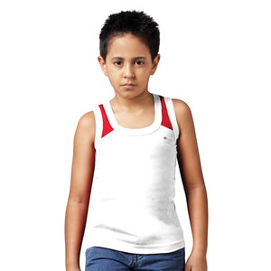 Sirtex Eazy Racer Boys Junior Gym Vest (Pack of 3) : White, Red & Royal Blue - RACER-BOY-9006