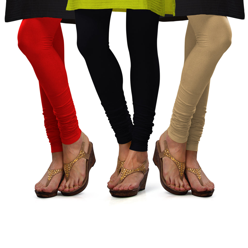 Sirtex Eazy Cotton Lycra Churidar Leggings (Pack of 3) : Red, Black & Skin