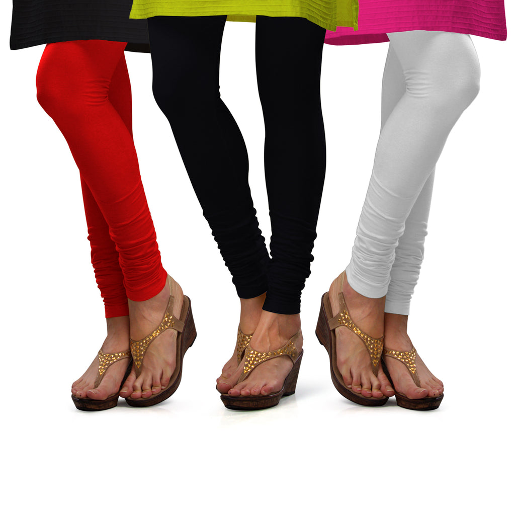 Sirtex Eazy Cotton Lycra Churidar Leggings (Pack of 3) : Red, Black & White