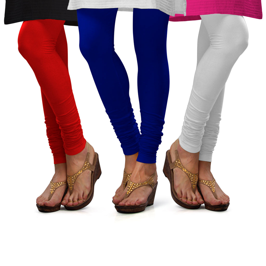 Sirtex Eazy Cotton Lycra Churidar Leggings (Pack of 3) : Red, Royal Blue & White