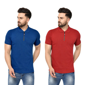 Eazy Men's Zipper Polo T-shirt ( Pack of 2) - Royal Blue & Bright Red