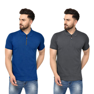 Eazy Men's Zipper Polo T-shirt ( Pack of 2) - Royal Blue & Grindle Black