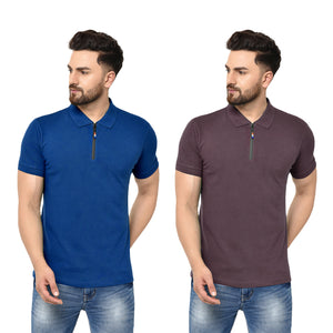 Eazy Men's Zipper Polo T-shirt ( Pack of 2) - Royal Blue & Grindle Maroon