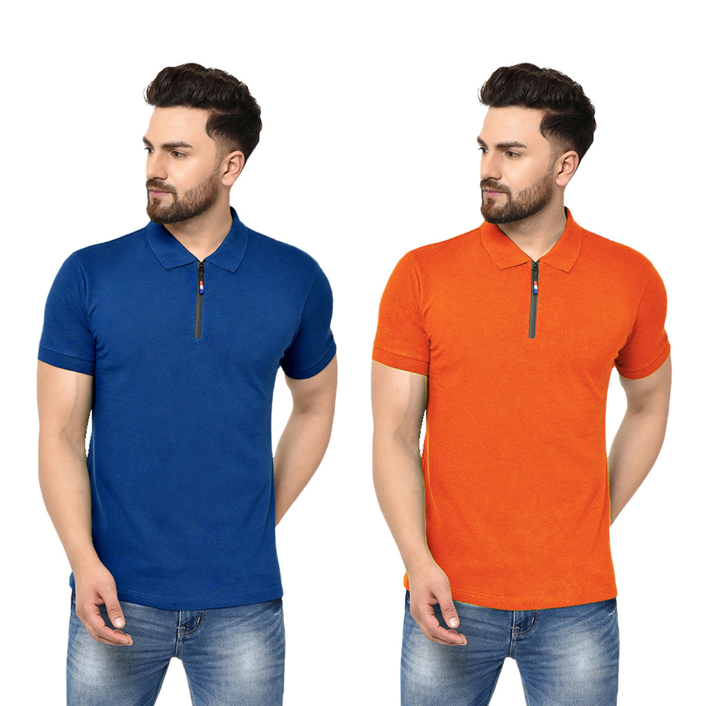 Eazy Men's Zipper Polo T-shirt ( Pack of 2) - Royal Blue & Papaya Orange