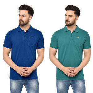 Eazy Men's Pocket Polo T-shirt ( Pack of 2) - Royal Blue & Pepper Green