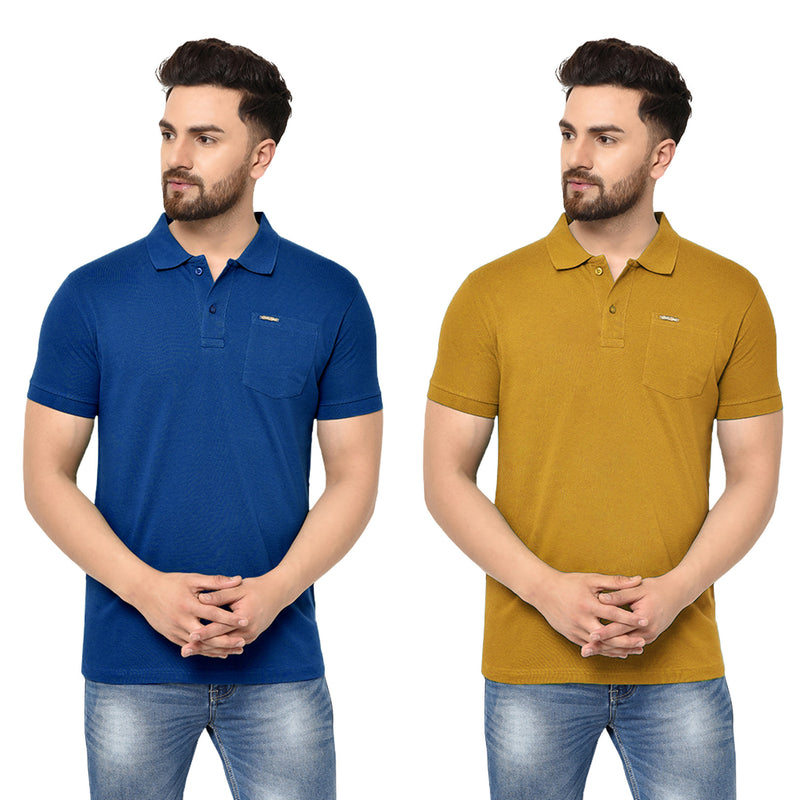 Eazy Men's Pocket Polo T-shirt ( Pack of 2) - Royal Blue & Vibrant Mustard