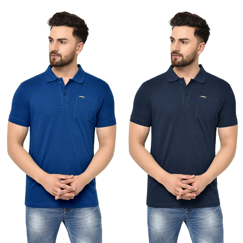 Eazy Men's Pocket Polo T-shirt ( Pack of 2) - Royal Blue & Young Navy