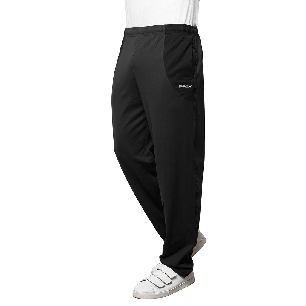 Sirtex Eazy Men's Cotton Blended Zipper Track Pants (Pack of 2) : Dark Grey Melange & Black