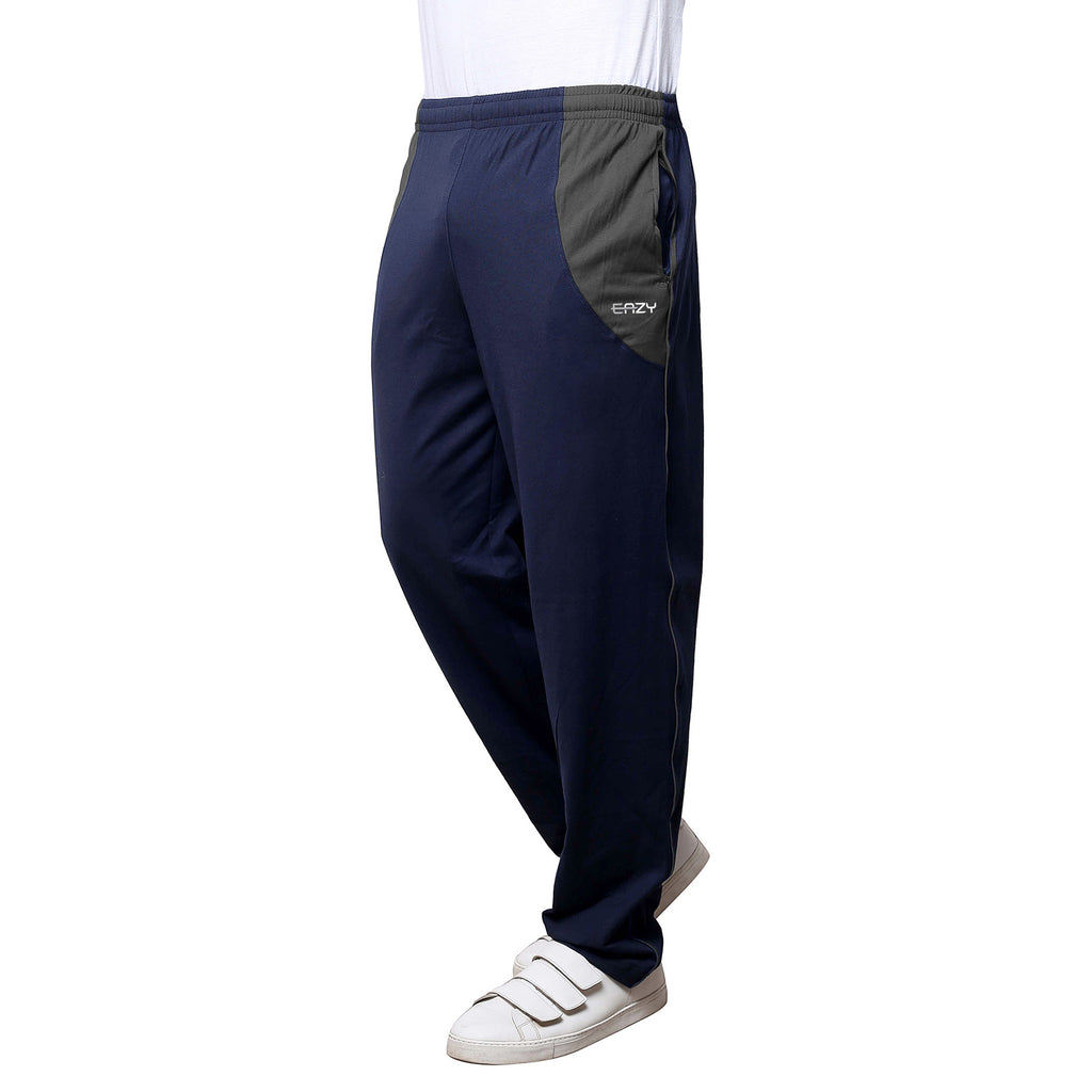 Sirtex Eazy Men's Cotton Blended Zipper Track Pants (Pack of 2) : Navy Blue & Light Grey Melange