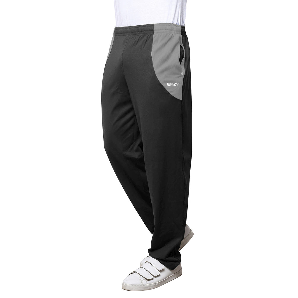 Sirtex Eazy Men's Cotton Blended Zipper Track Pants (Pack of 2) : Steel Grey & Light Grey Melange
