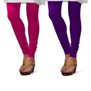 Sirtex Eazy Cotton Lycra Churidar Leggings (Pack of 2) : Rani & Brinjal