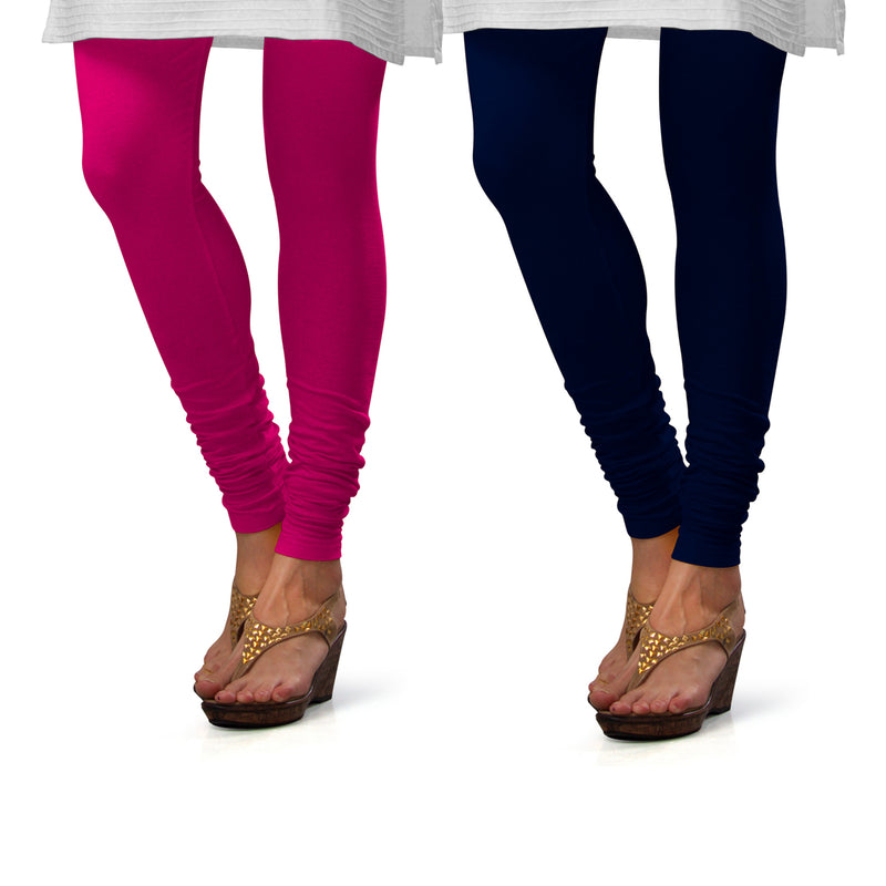 Sirtex Eazy Cotton Lycra Churidar Leggings (Pack of 2) : Rani & Navy Blue