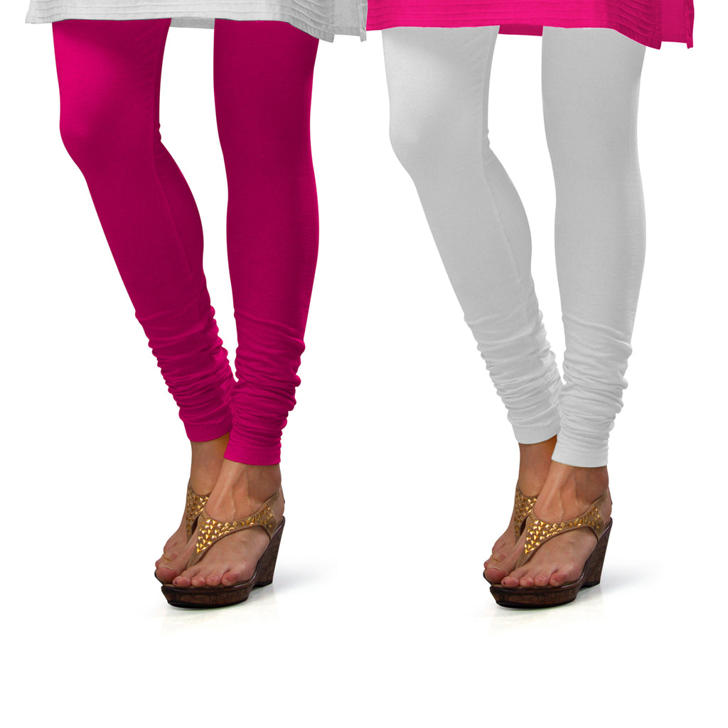 Sirtex Eazy Cotton Lycra Churidar Leggings (Pack of 2) : Rani & White