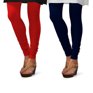 Sirtex Eazy Cotton Lycra Churidar Leggings (Pack of 2) : Red & Navy Blue