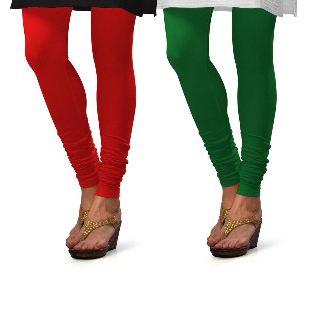Sirtex Eazy Cotton Lycra Churidar Leggings (Pack of 2) : Red & Pak-Green