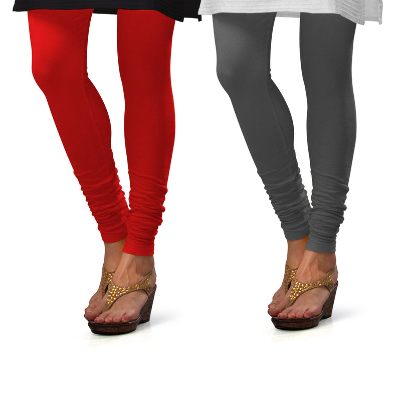 Sirtex Eazy Cotton Lycra Churidar Leggings (Pack of 2) : Red & Steel Grey