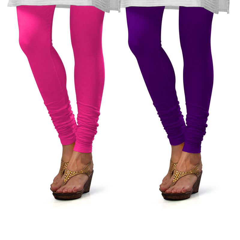 Sirtex Eazy Cotton Lycra Churidar Leggings (Pack of 2) : Romantic Rani & Brinjal