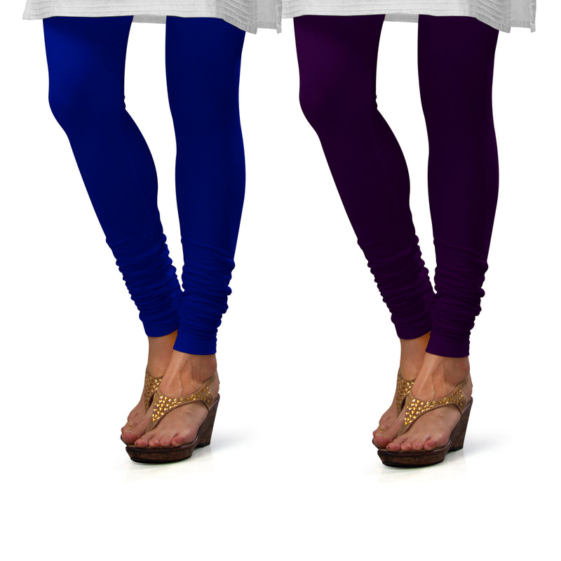 Sirtex Eazy Cotton Lycra Churidar Leggings (Pack of 2) : Royal Blue & M Purple