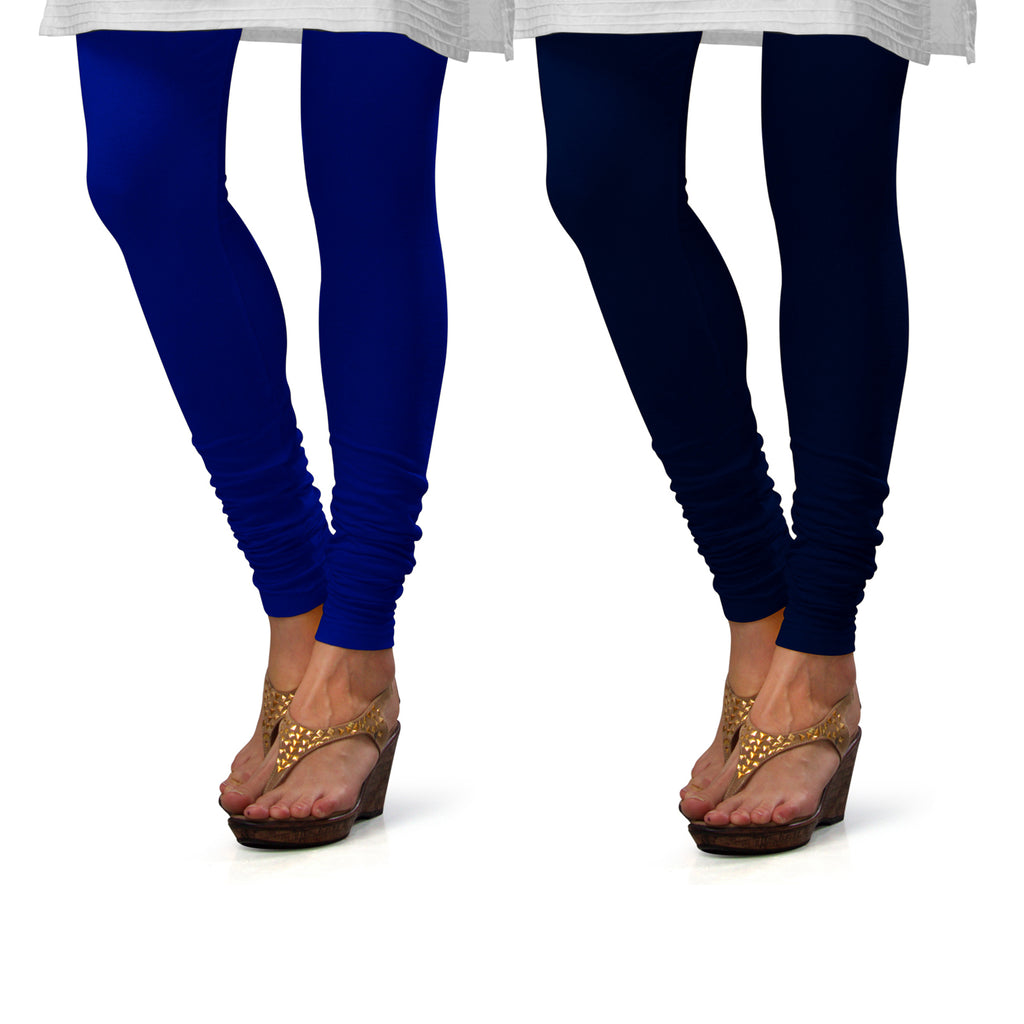 Sirtex Eazy Cotton Lycra Churidar Leggings (Pack of 2) : Royal Blue & Navy Blue