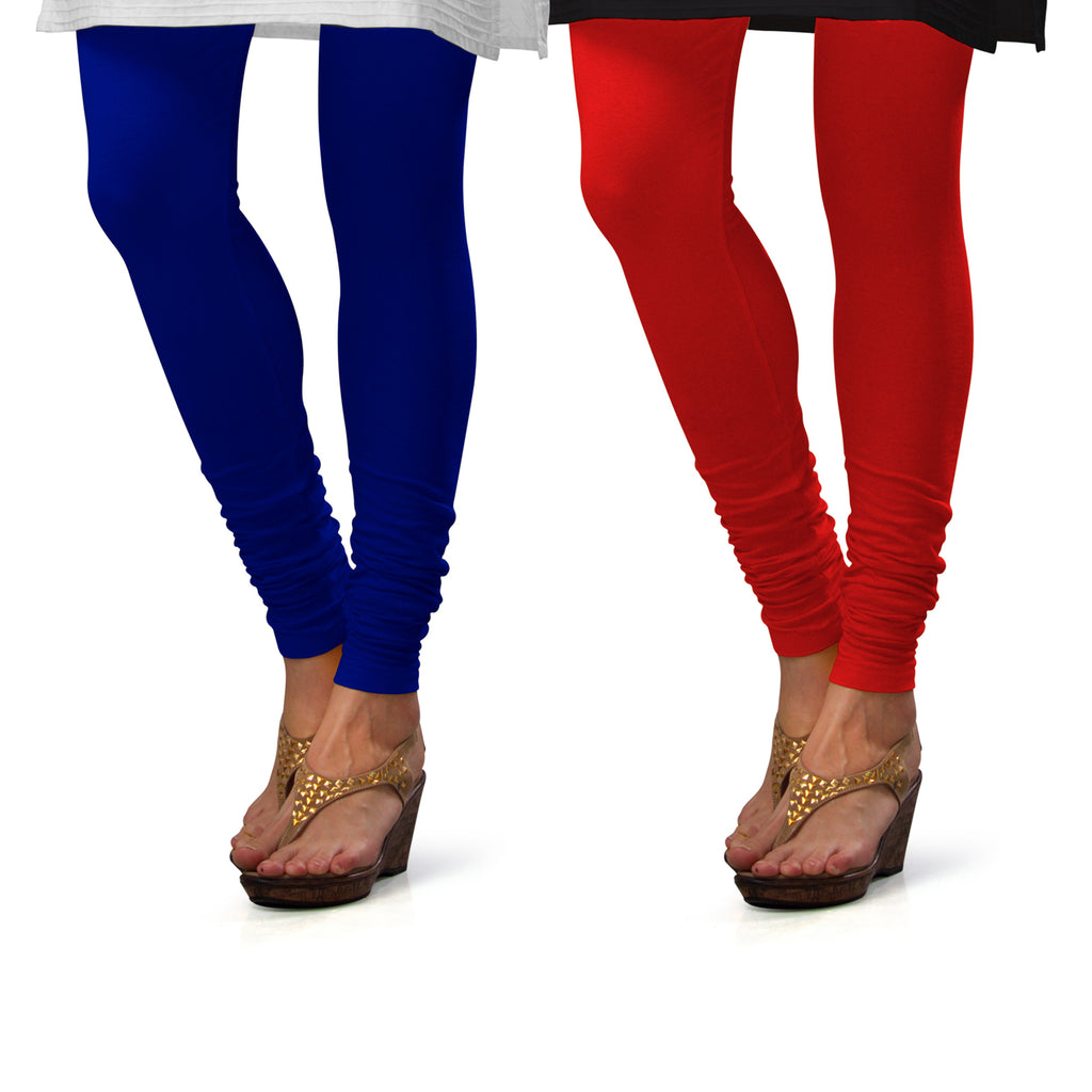 Sirtex Eazy Cotton Lycra Churidar Leggings (Pack of 2) : Royal Blue & Red