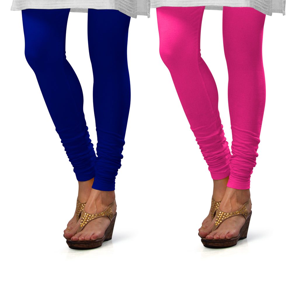 Sirtex Eazy Cotton Lycra Churidar Leggings (Pack of 2) : Royal Blue & Romantic Rani