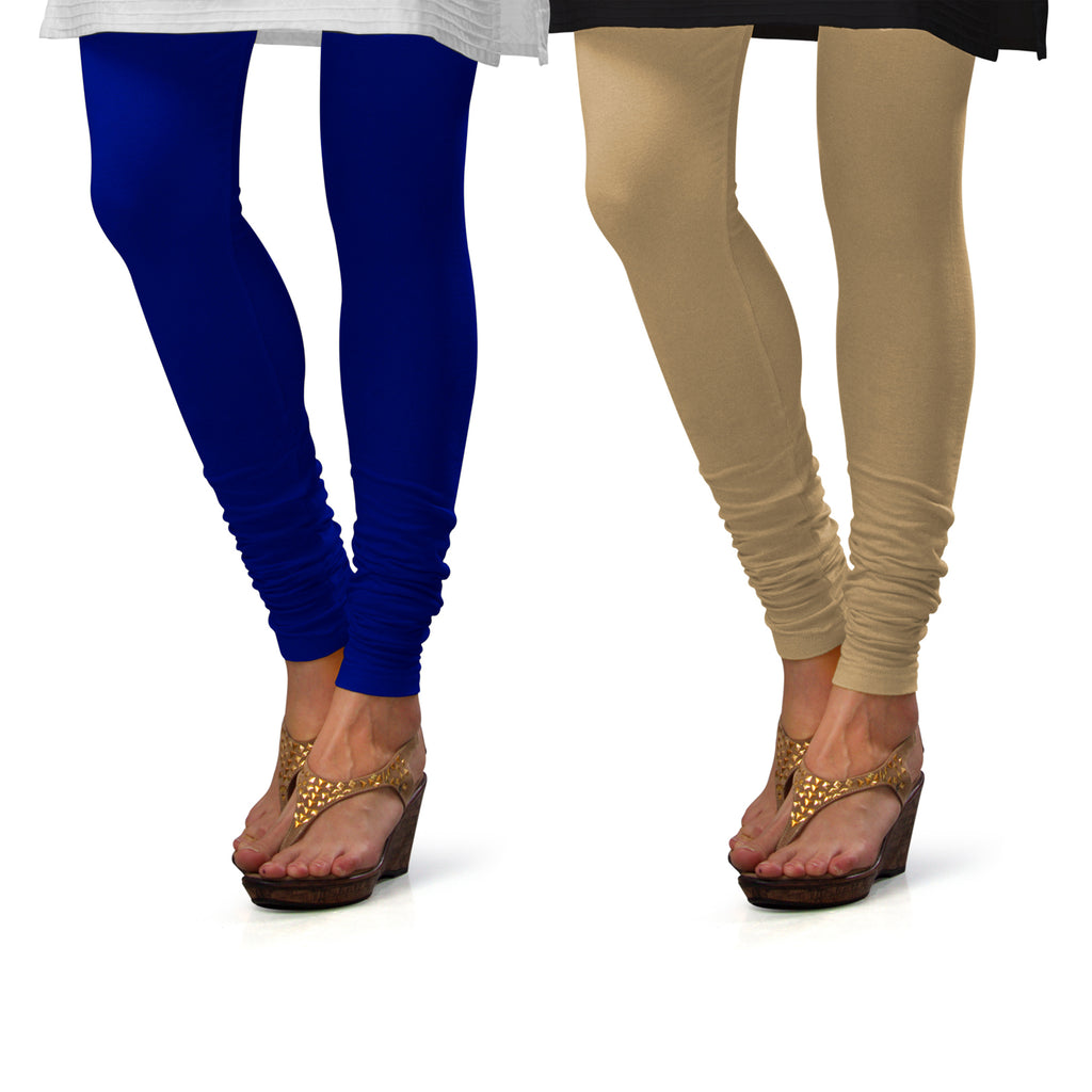 Sirtex Eazy Cotton Lycra Churidar Leggings (Pack of 2) : Royal Blue & Skin