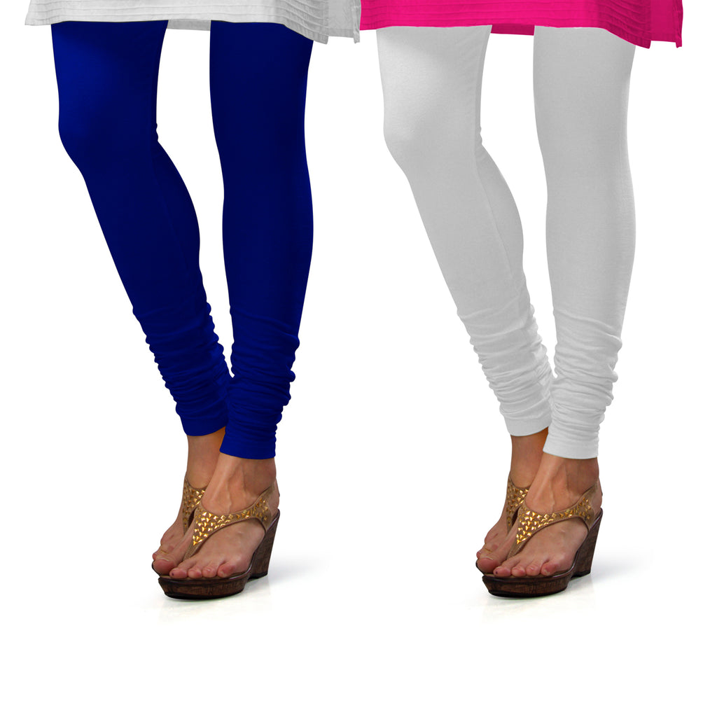 Sirtex Eazy Cotton Lycra Churidar Leggings (Pack of 2) : Royal Blue & White
