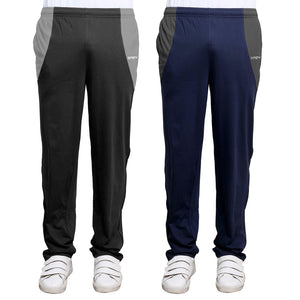 Sirtex Eazy Men's Cotton Blended Zipper Track Pants (Pack of 2) : Steel Grey & Navy Blue