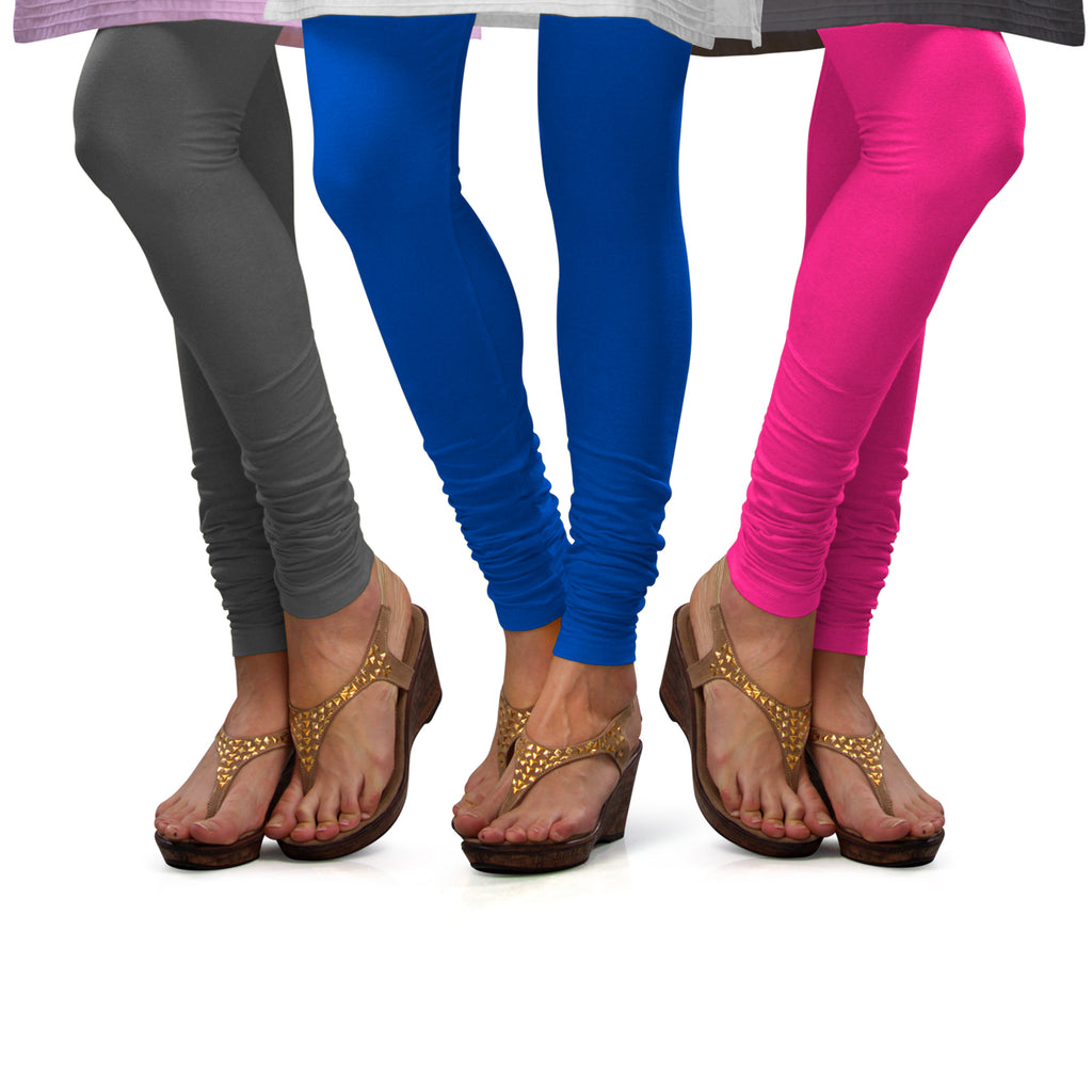 Sirtex Eazy Cotton Lycra Churidar Leggings (Pack of 3) : Steel Grey, T Blue & Romantic Rani