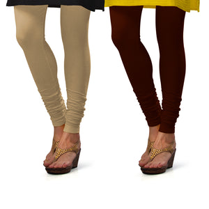 Sirtex Eazy Cotton Lycra Churidar Leggings (Pack of 2) : Skin & M Brown