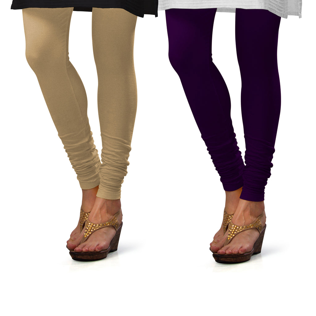 Sirtex Eazy Cotton Lycra Churidar Leggings (Pack of 2) : Skin & M Purple