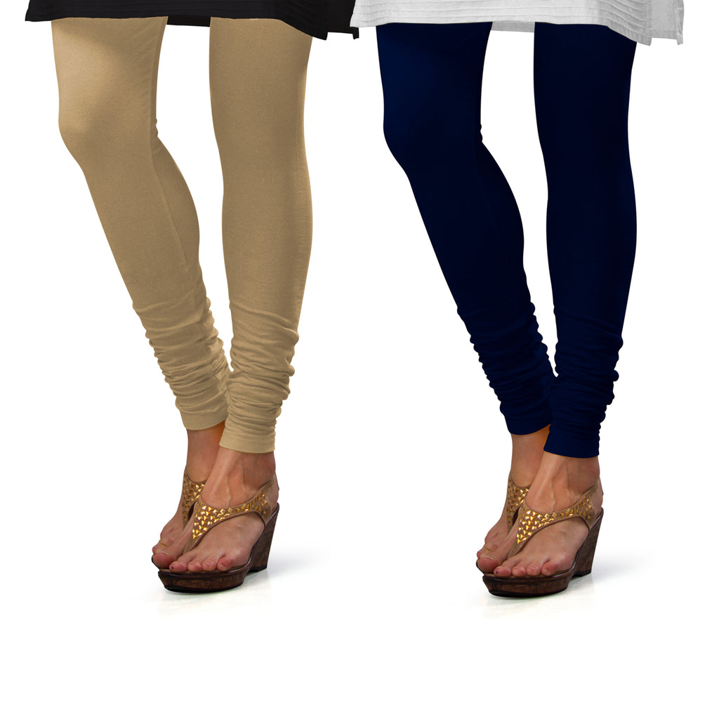 Sirtex Eazy Cotton Lycra Churidar Leggings (Pack of 2) : Skin & Navy Blue