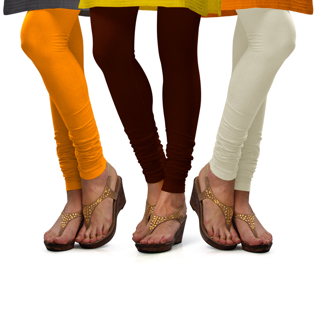Sirtex Eazy Cotton Lycra Churidar Leggings (Pack of 3) : Turmeric, M Brown & Off-White