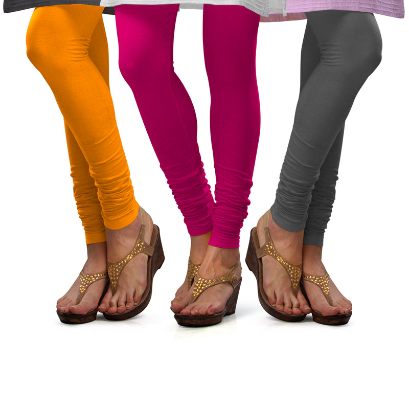Sirtex Eazy Cotton Lycra Churidar Leggings (Pack of 3) : Turmeric, Rani & Steel Grey