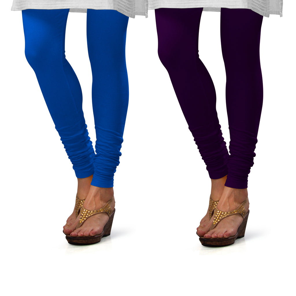 Sirtex Eazy Cotton Lycra Churidar Leggings (Pack of 2) : T Blue & M Purple